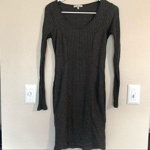 Simple Gray Long Sleeve Cotton Body Con Dress